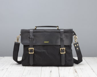 Personalised waxed canvas and leather messenger bag in black