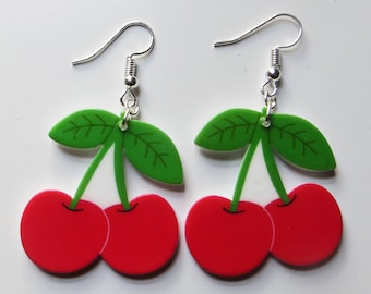 Large cherries earrings