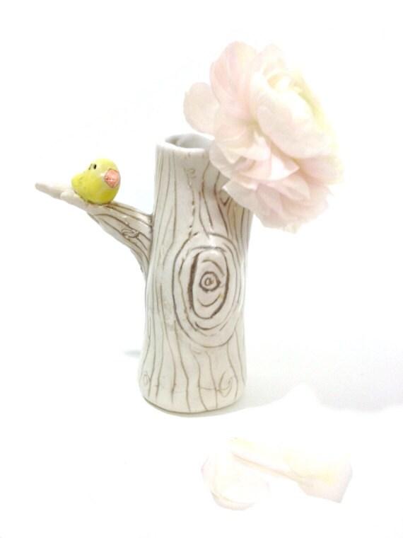 Items Similar To Tree Vase Ceramic Porcelain Pottery With Bird Made