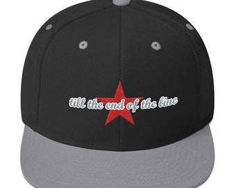 Till the End of the Line Embroidered Snapback Hat // Bucky, Winter Soldier