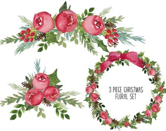 Red Watercolor floral and berry wreath, florals and elements 14 piece Clipart - BUNDLE INSTANT DOWNLOAD