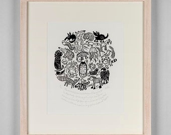 Animal A-Z lino cut  'Aardvark bear cat dog eel fox goat hedgehog...' - critters - animal wall art - alphabet - lino print - nature art