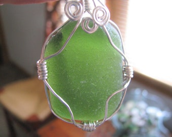 Jade Green Sea Glass - Sea Glass Pendant-Wire Wrapped Pendant - Beach Glass Jewelry-Pure Sea Glass from Prince Edward Island