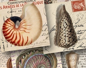 Seashell Printable, Beach Instant Download in 2 inch squares, Nautical Images on Vintage Postcards, Tag Sized Collage Sheet - piddix 450