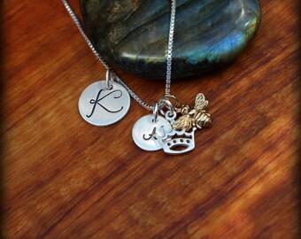 Queen Bee necklace, Crown necklace, Queen necklace
