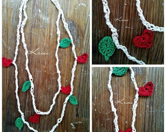 Two Strand Crochet Necklace in One Beige Cotton Yarn with Crochet Red Heart  and Green Leaves