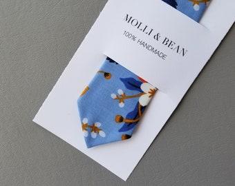 Blue Floral Necktie, Skinny Floral Necktie, Men's Floral Necktie, Boys Floral Necktie, Groomsmen Floral Necktie, Necktie