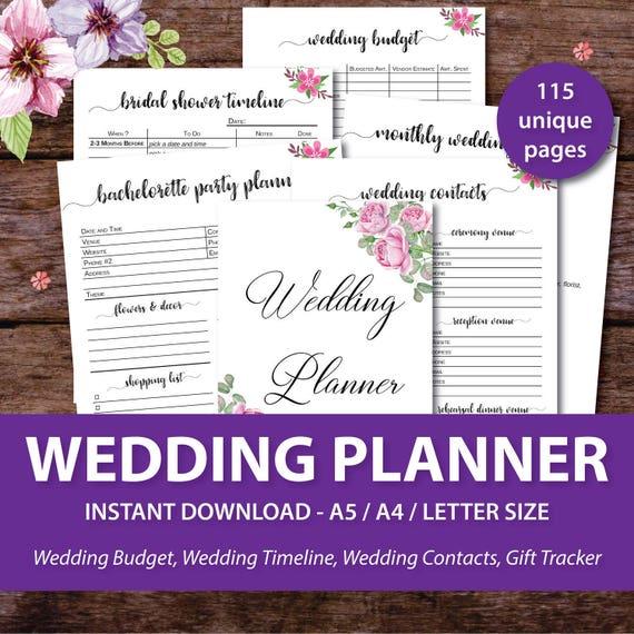 Printable Wedding Planner Binder Planning A Rustic: Wedding Planner Printable Wedding Binder Printables Wedding