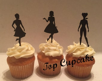 50's Pin-up  Inspired Cupcake Toppers -12
