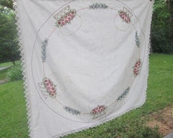 """Vintage Hand Embroidered Tablecloth - White Cotton Tablecloth - Embroidered Luncheon Cloth - 36"""" Square"""