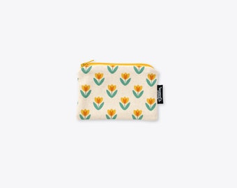 New! Yellow Tulip Organic Cotton Coin Purse