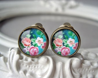 Pretty pink flower rose clip earrings sweet lolita feminine