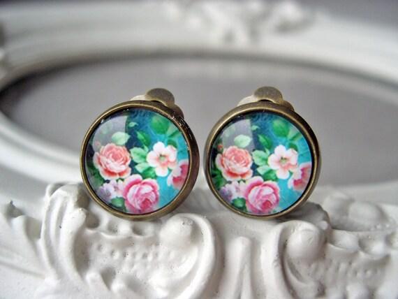 Pretty pink flower rose clip earrings sweet lolita feminine