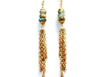 Labradorite Earrings - Gold - Dangle