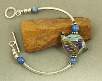 Cobalt Blue Fish Lampwork Sterling Silver Bracelet