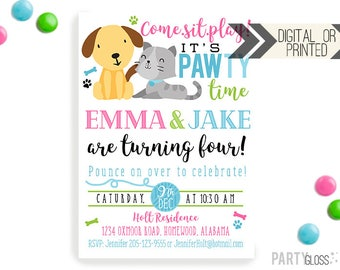 Puppy Kitten Birthday Invitation | Digital or Printed | Puppy Party | Boy Girl Twins | Brother Sister Invite | Boy Girl Twins Invitation