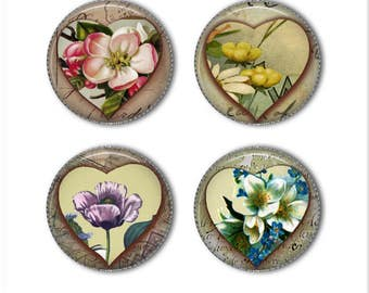 Heart and flower magnets or heart and flower pins, shabby chic, refrigerator magnets, fridge magnets, office magnets