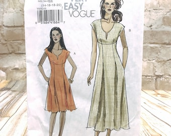 Very Easy Vogue 8382 Womens Plus Size Petite Empire Waist Dress in 2 Lengths w V Neck Size 14 20 Uncut Sewing Pattern