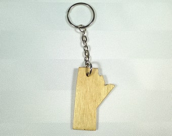 Manitoba Key Chain - Laser Cut Wood - Province of Manitoba Keychain