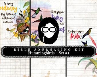 Bible Verses DIY - Hummingbirds Set # 1 - 3 Pg Instant Downloads - digital rose paper, lined journal pages, prayer journaling, scripture art
