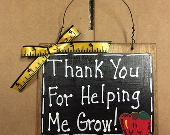 Teacher Gifts 81TYHG Thank You for Helping me Grow! Teacher Slate Blackboard