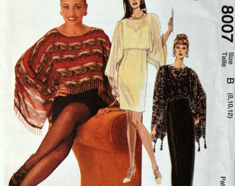 Uncut 1990s McCall's Vintage Sewing Pattern 8007, Size 8-10-12; Misses' Dress in Two Lengths and Cover Up