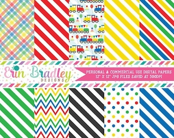 80% OFF SALE Trains Digital Paper Pack Instant Download Digital Scrapbook Papers in Red Yellow Green Blue with Chevron Stripes & Polka Dots
