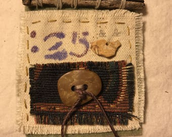 Brooch Textile Art with Twig