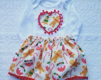 Babies christmas outfit handmade with pom pom trim gingerbread man
