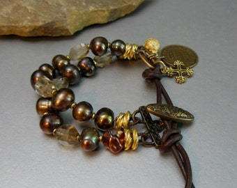 Natural Pearl and Smokey Quartz Gemstone Bracelet with Gold accents and Soft Brown Leather clasp and Antique Button - Charms