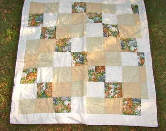 Vintage Patchwork Bunny Quilt Lap Quilt Play Baby Quilt with Bunnies. Quiet Colors and Rabbits. So Soft and Snuggly.