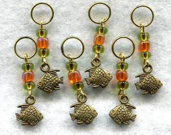 Goldfish Knitting Stitch Markers PhatFiber Under The Sea Theme Set of 6/SM101