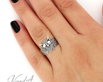 Sterling Silver 925 Owl Ring silver band ring high fashion owl ring cute owl ring (R24)