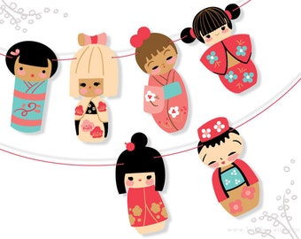 DIY Printable Kokeshi Dolls Banner, PDF Digital Download, make your own Party Decorations, Finger Puppets and more