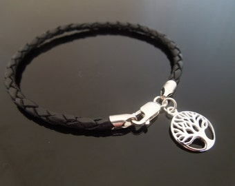 3mm Black Braided Leather Bracelet With 925 Sterling Silver Tree Of Life Charm