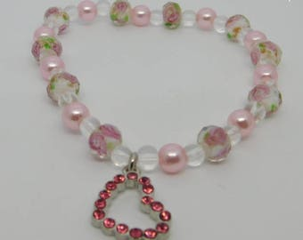 Pink Roses on Glass Beads, Pearls, Pink Heart Charm Stretch Bracelet; Charm Bracelet, Stretch Bracelet, Easter Jewelry Glass Bead Faux Pearl