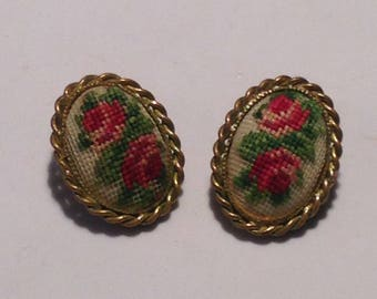 Beautiful Petite Vintage Rose Embroidered Earrings
