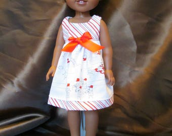 Wellie Wishers and Hearts for Hearts Doll Dress, Great Little Sundress, White with Red Summer Dress, Cute Dress for Parties,Church or School