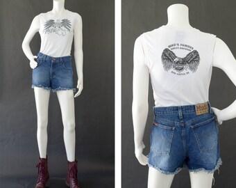 Vintage Denim Jean Shorts, 90s Cutt Off Shorts, Distressed Denim Shorts, High Waisted Denim Jean Shorts, 90s Mudd Jeans, Women's Size 3