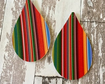 Serape Striped Faux Leather Pleather Shapes Cut Outs Earring Supplies Do It Yourself Craft Jewelry Supplies (2 Pieces, VERTICAL STRIPES)