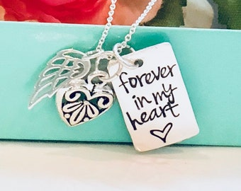 Forever in my Heart Hand Stamped Necklace-Memorial Necklace /Remembrance Necklace-Memorial Jewelry-Infant Loss-loss of a child Jewelry-loss
