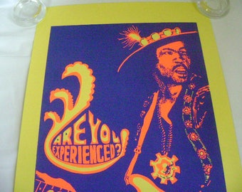 Jimi Hendrix Original Vintage Black Light Psychedelic Poster, Are You Exerpienced, Pro Arts Inc. 1971, Very Rare Old Stock