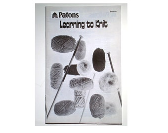 Vintage Patons LEARNING To KNIT Booklet Instructions Illustrated Casting On Circular Needle Fair Isle Knitting Grafting Blocking Beehive