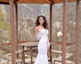 Wedding Dress/Mermaid Long Sleeves Backless Bridal Dress