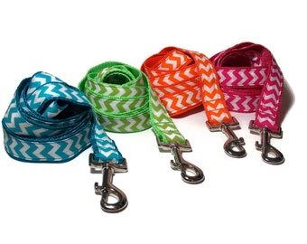 Personalized Bright Chevron Leashes in Pink, Green, Blue and Orange