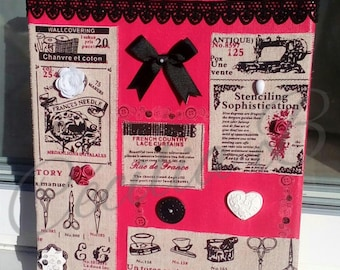 Canvas frame theme sewing, vintage posters, vintage on linen - raspberry pink, ecru fabrics