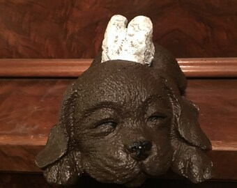 9 Inch Hand Painted Concrete Angel Puppy, Angel Dog Statue, Pet Memorial, Dog Grave Marker