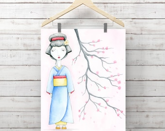 Geisha Girl with Cherry Blossom Branch Giclee Art Print - Print of Watercolor Geisha Painting - Original Art by Angela Weber