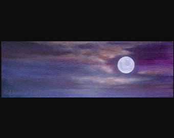 Lavender Moon art: metal or canvas print of acrylic painting - purple, violet, peach, periwinkle & pink by Kauai, Hawaii fine artist Donia