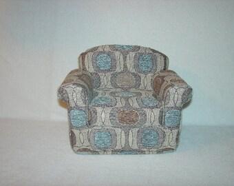 16 inch Doll Armchair Chenille Teal Brown Beige Handmade Furniture